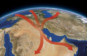 Major regional migration movements of birds passing through Kuwait. Specific routes are not yet fully known to scientists.